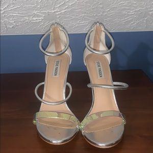 Silver metallic shiny looped heels